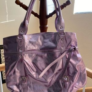 100% real leather lavender color bag!